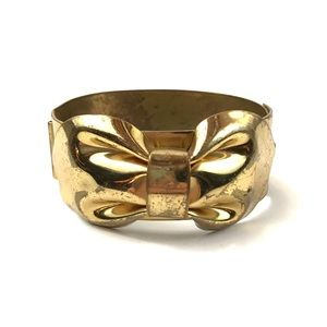 Vintage | Brass Cuff Bracelet Bangle Bow Gold Boho